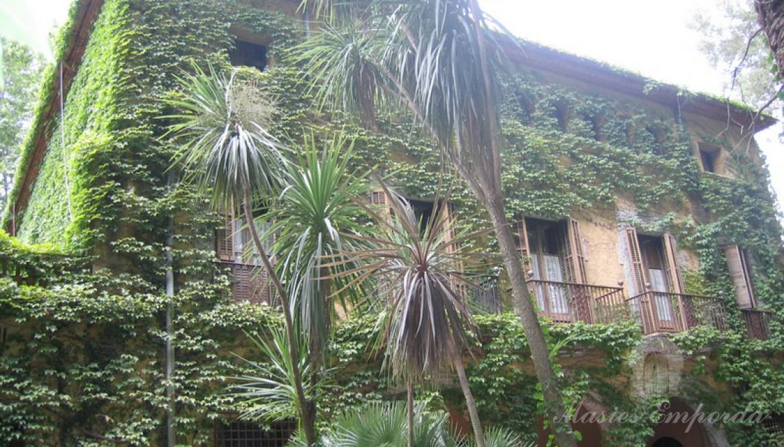 Detalle de las fachadas de y terrazas que la conforma cubierta de yedra trepadora