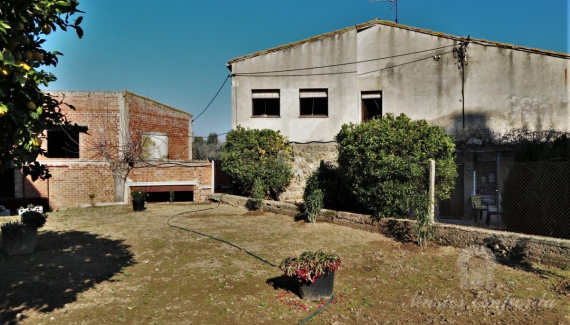 Vistas del jardín, huerto y la casa al fondo